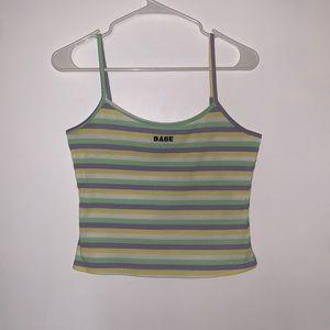"""SHEIN """"Babe"""" Striped Crop Top"""